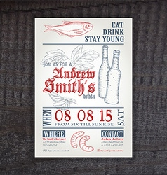Hand drawn vintage invitation on birthday with hop vector