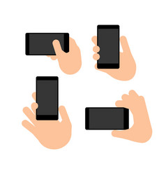 Hand holds a smart phone in vertical and vector