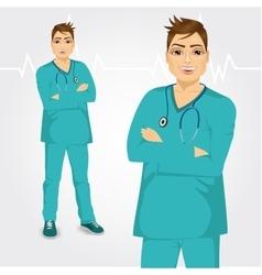 Happy doctor man standing with hands crossed vector