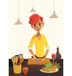 Healthy food cartoon woman cooking in the modern vector