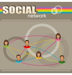 Infographic with user face icons social network vector
