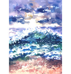 landscape with sea surf painted in watercolor vector image