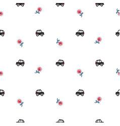 London cartoon cab cars and flowers seamless vector