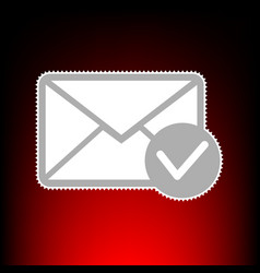 mail sign with allow mark postage vector image vector image