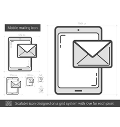 Mobile mailing line icon vector