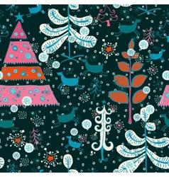 Pattern with cute Santa deer doodle snowman vector image