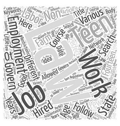Searching for perfect teen jobs word cloud concept vector