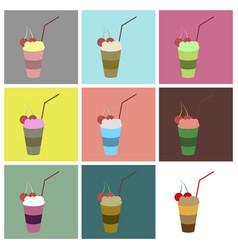 Set icons in flat design milkshake with cherry vector