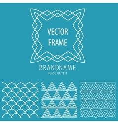 set of outline emblems and patterns vector image vector image