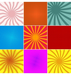 Set ofpop art backgounds vector