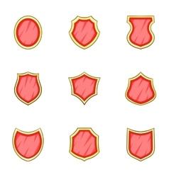 Shield shape icons set cartoon style vector