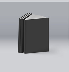 stack of black books on deep background mockup vector image vector image
