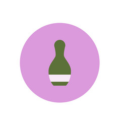 Stylish icon in color circle bowling skittle vector
