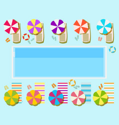 swimming pool top view sunbeds and umbrellas vector image vector image