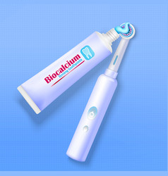 Toothpaste and toothbrush background vector