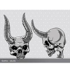 vintage skulls set vector image vector image