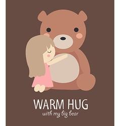 Warm hug with big bear vector