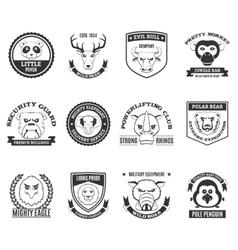 Wild Animal Black White Labels Set vector image