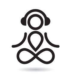 Yogi and headphones icon vector image