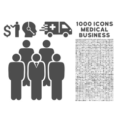 Staff icon with 1000 medical business pictograms vector