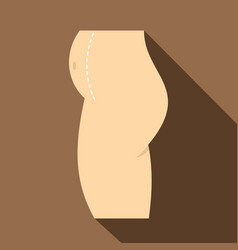 Cosmetic surgery of belly icon flat style vector