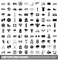 100 cycling icons set simple style vector