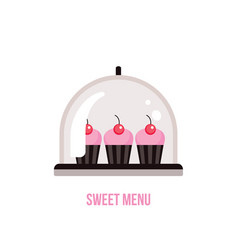Cute delicious pink cupcakes with cherry on top vector
