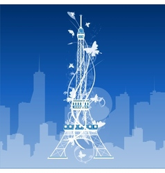 Eiffel tower isolated over the white background vector