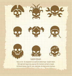 Skull icons on vintage notebook page vector