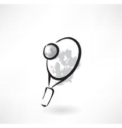 tennis racket grunge icon vector image