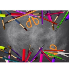 School supplies on blackboard plus eps10 vector