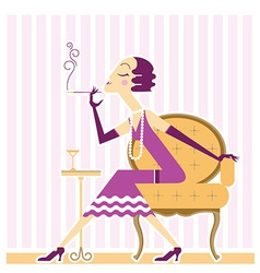 flapper girl with cigaret vector image