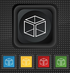 3d cube icon sign symbol squared colourful buttons vector