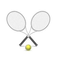 Tennis rackets with ball vector