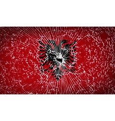 Flags albania with broken glass texture vector