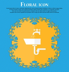 Washbasin icon sign floral flat design on a blue vector