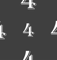 Number four icon sign seamless pattern on a gray vector