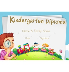 Diploma template for kindergarten students vector