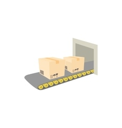 Conveyor belt with boxes icon cartoon style vector