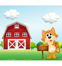 A cat holding an empty signboard with a barn at vector