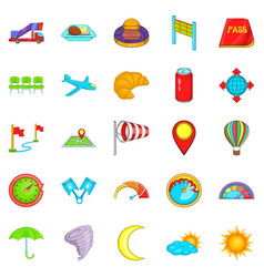 Airborne icons set cartoon style vector