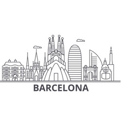 Barcelona architecture line skyline vector