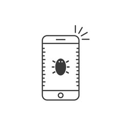 black thin line phone with bug vector image vector image