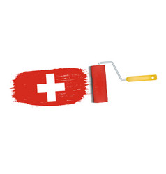 brush stroke with switzerland national flag vector image vector image