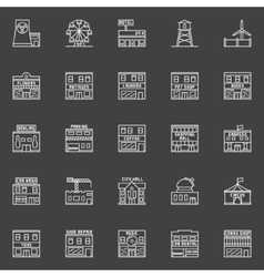 Buildings and constructions icons vector