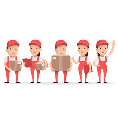character delivery man in red uniform with cardboa vector image