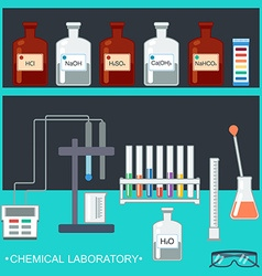 Chemical laboratory flat design chemical glassware vector