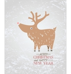 Cute brown deer on ice New Year Christmas vector image