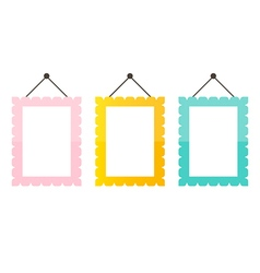 Cute pink mint green and gold picture frame icons vector