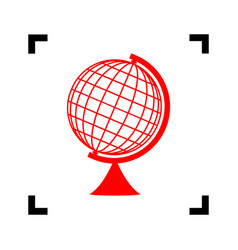 Earth globe sign red icon inside black vector